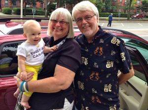 Carol & Bill with granddaughter Leila (Photo by Kate Mitchell Balla)